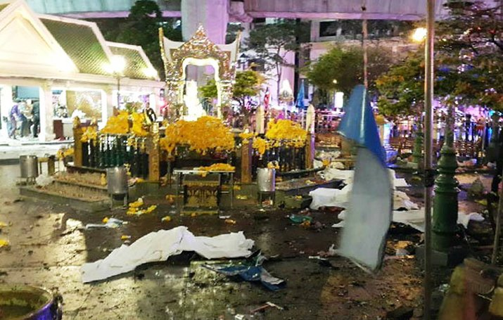The aftermath of the explosion at the Erawan Shrine, Bangkok, Thailand